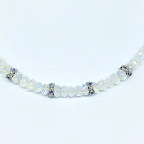 MOONSTONE NECKLACE WITH DIAMOND EVIL EYES