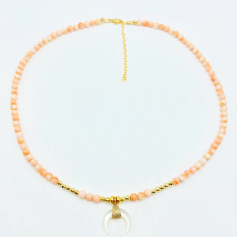 CORAL NECKLACE WITH MOTHER OF PEARL MOON