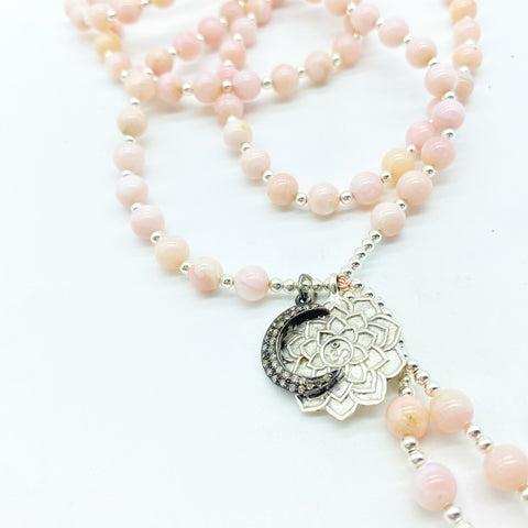 PINK OPAL LOTUS MALA WITH DIAMOND MOON