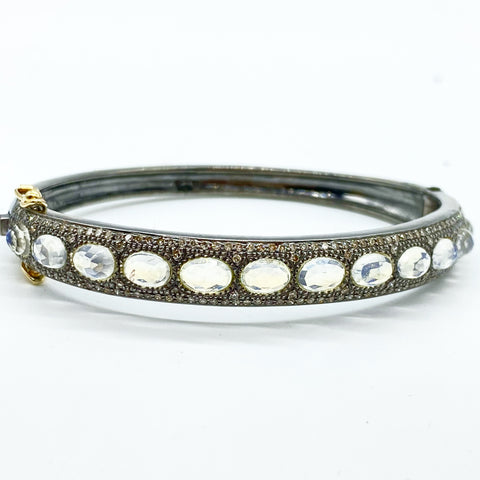 MOONSTONE & PAVE DIAMOND BANGLE