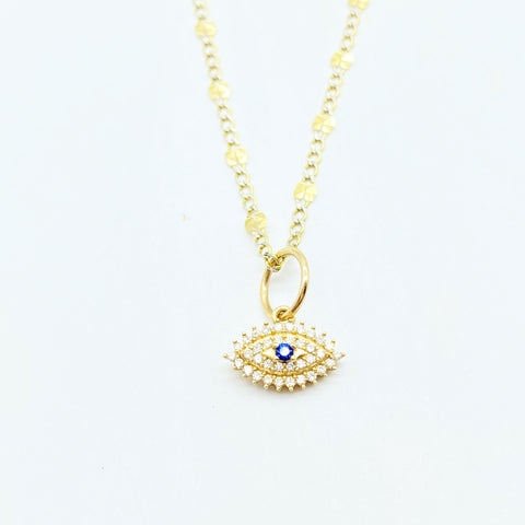 WHITE DIAMOND EVIL EYE AMULET