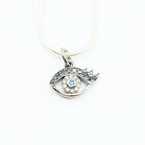 SILVER DIAMOND EVIL EYE
