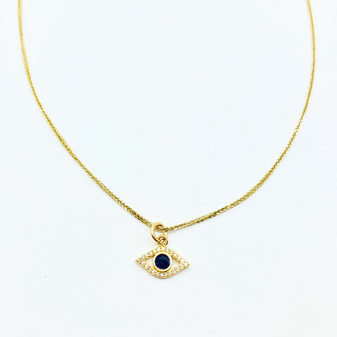 DIAMOND EVIL EYE WITH ENAMEL CENTER