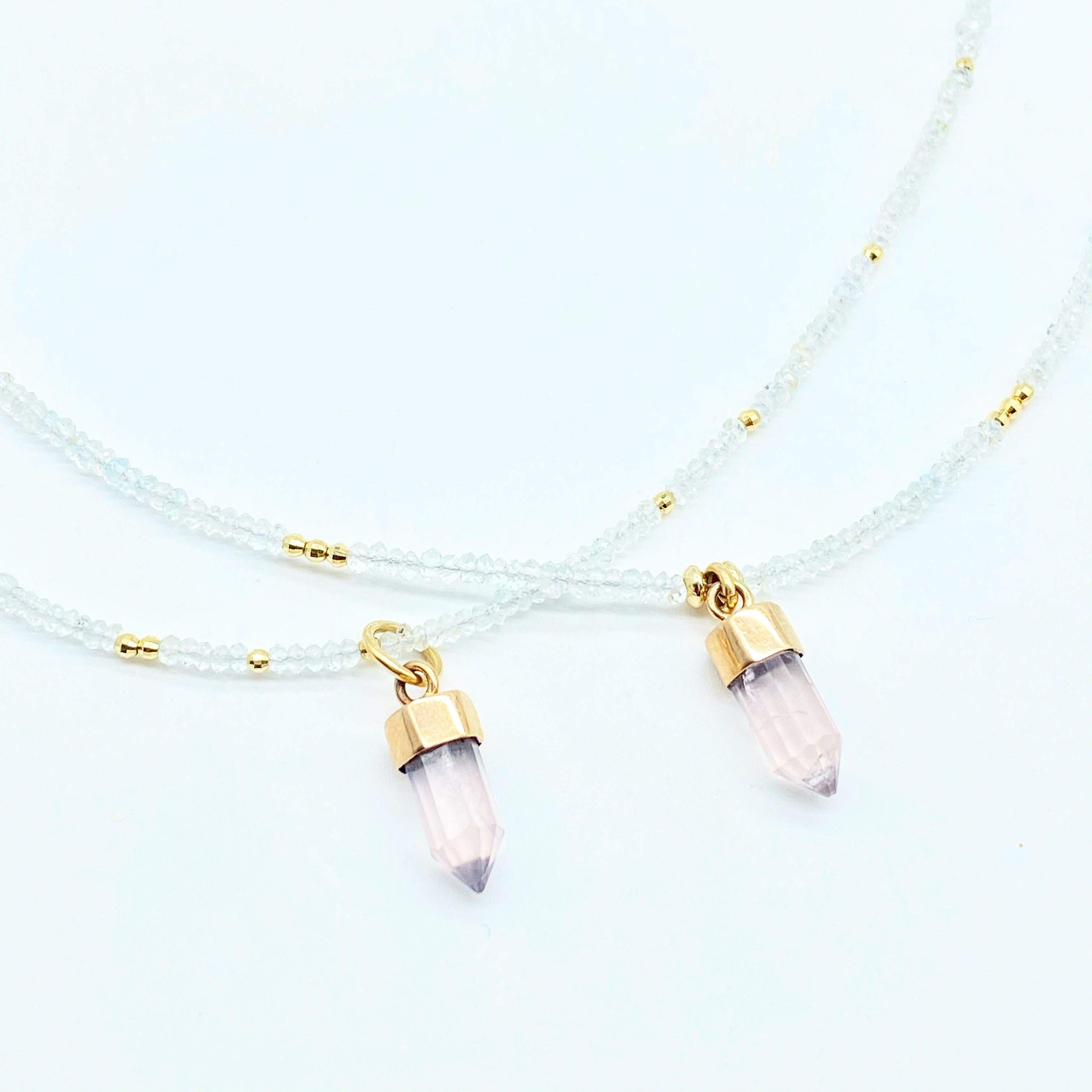MORGANITE CRYSTAL AMULETS WITH CRYSTAL OR EVIL EYE