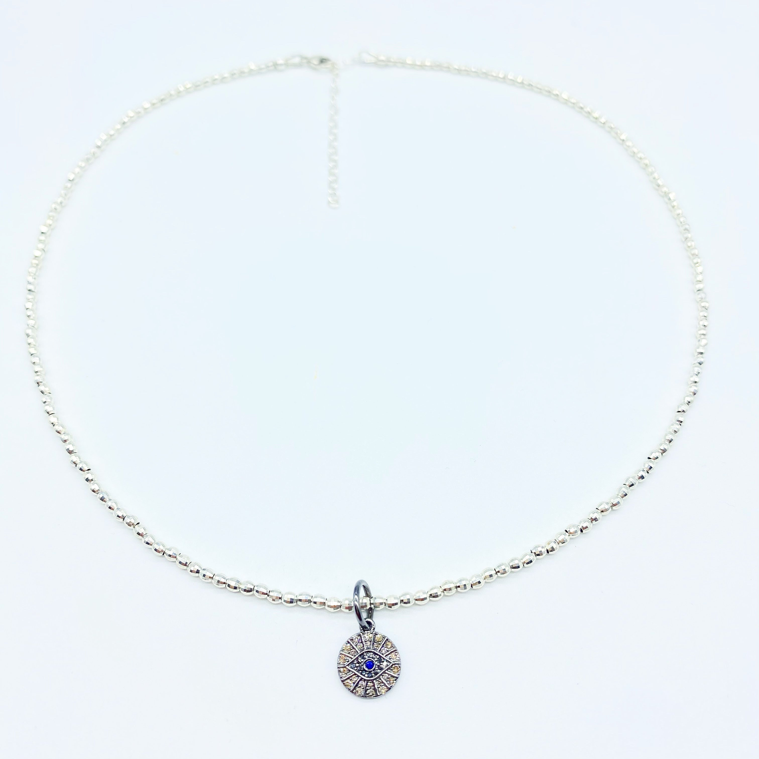 SILVER DIAMOND EVIL EYE NECKLACE