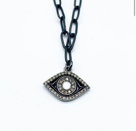 BLACK ENAMEL EVIL EYE PROTECTION AMULET