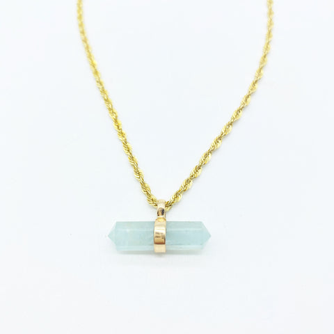 AQUAMARINE CRYSTAL BAR ON GOLD ROPE CHAIN