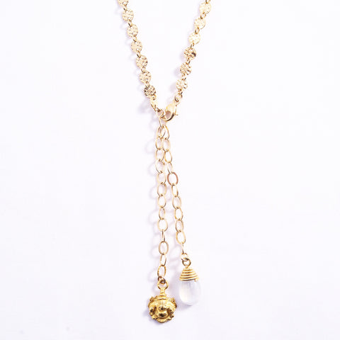 GOLD HAMMERED DISC NECKLACE WITH PROTECTION CHARMS