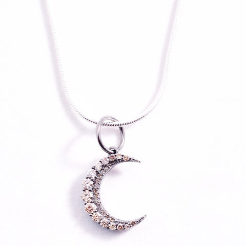 SILVER DIAMOND CRESCENT MOON
