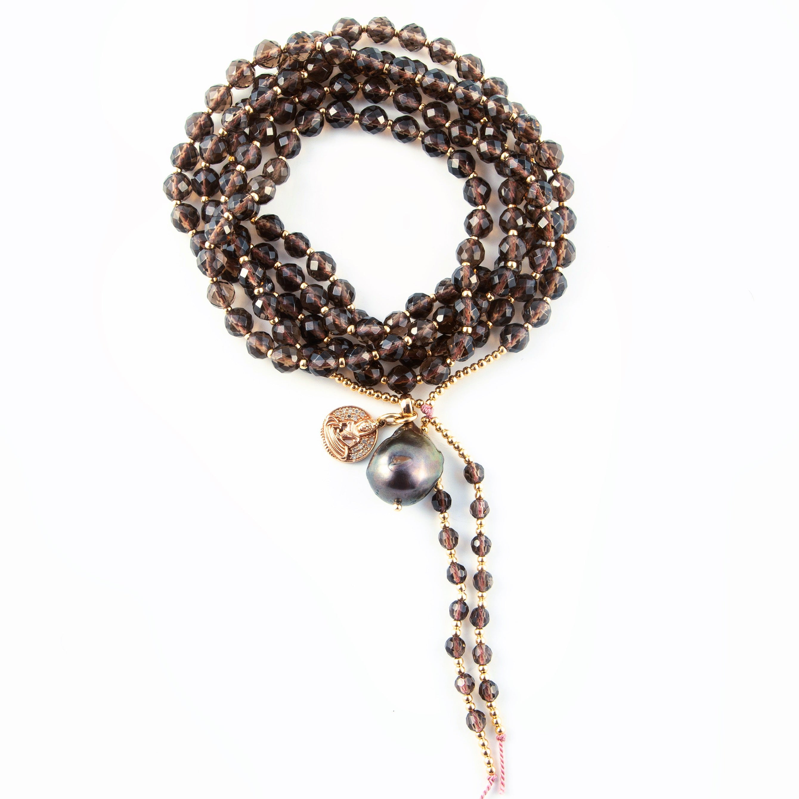 SMOKY QUARTZ MALA WITH BUDDHA AND BLACK PEARL