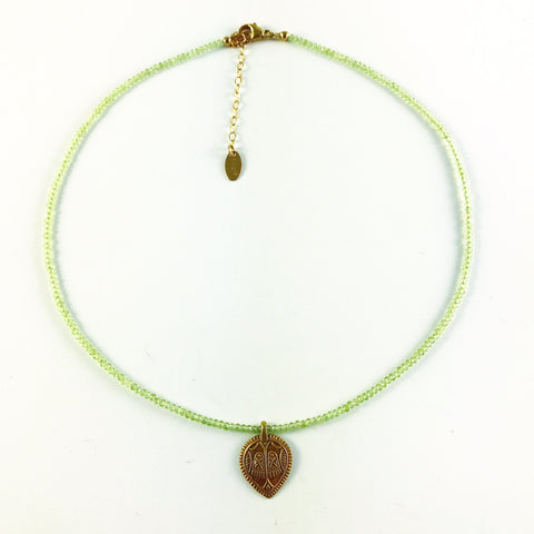 4th Chakra, Heart, Peridot with Gold Fill Lakshmi Pendant