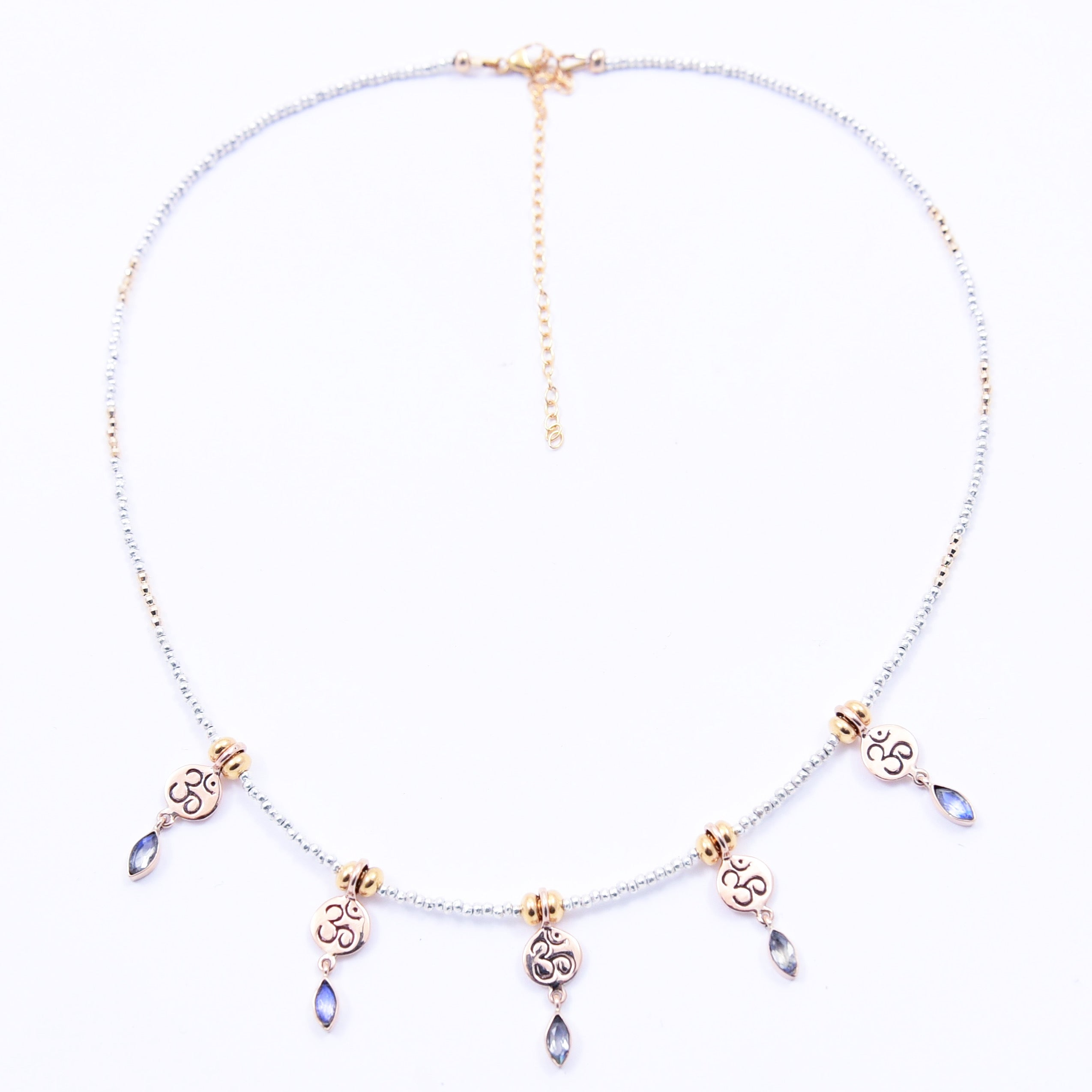 MOONSTONE & GOLD OM MANTRA NECKLACE