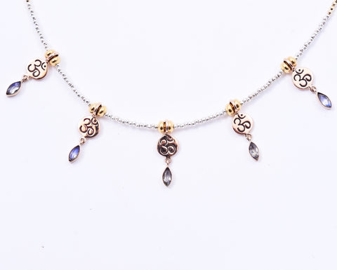 MOONSTONE OM MANTRA NECKLACE