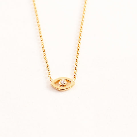 TINY DIAMOND EVIL EYE CHOKER