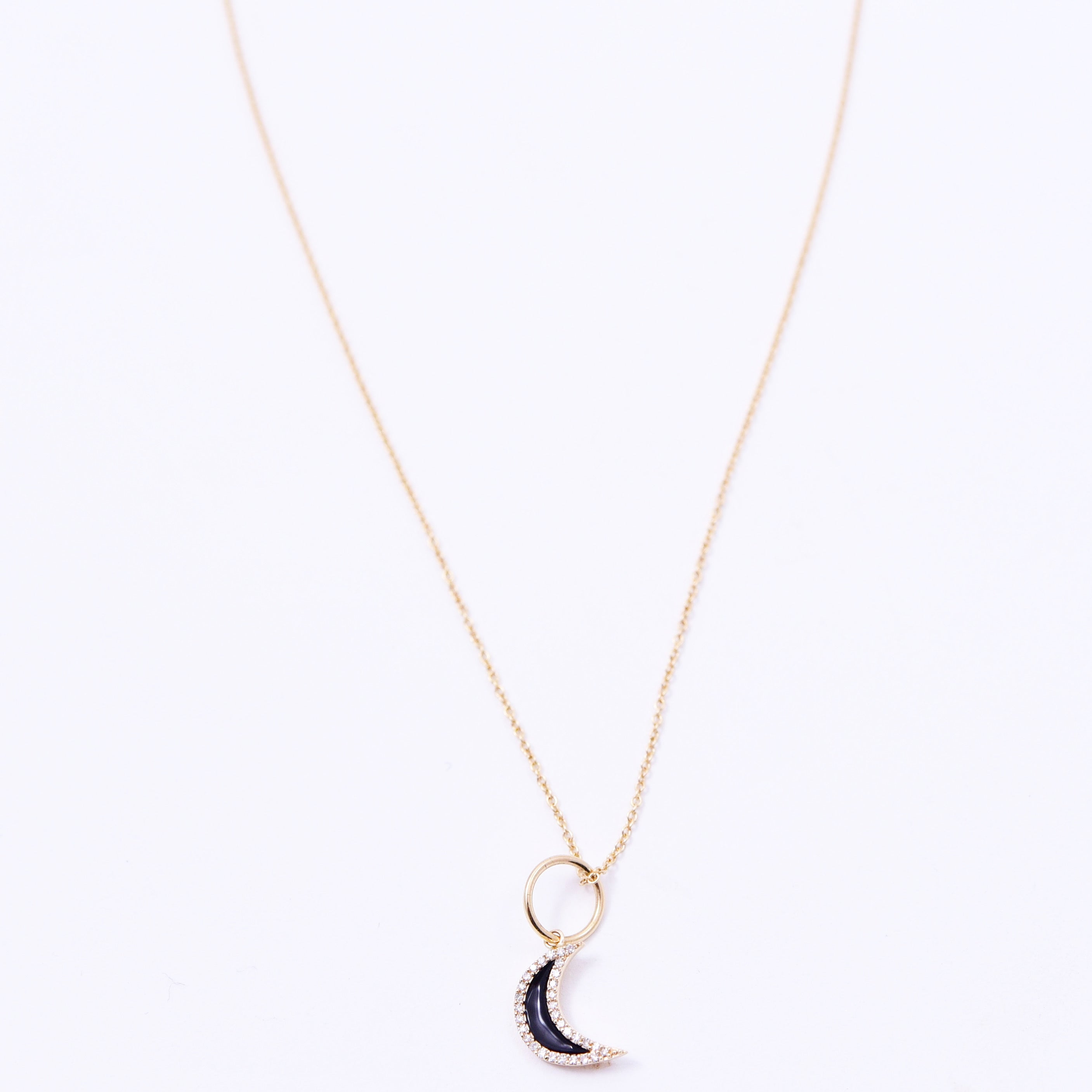 LUNA ENAMEL AND DIAMOND AMULET