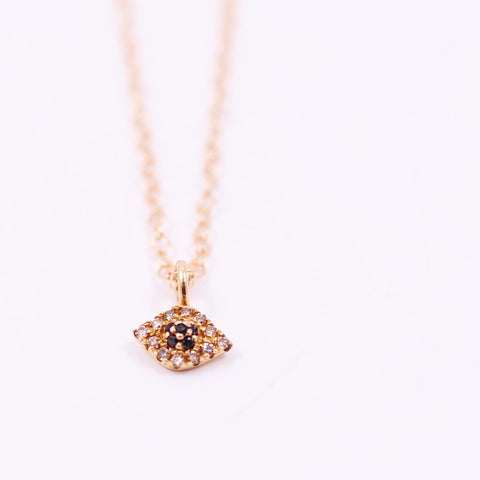 TINY GOLD & DIAMOND EVIL EYE