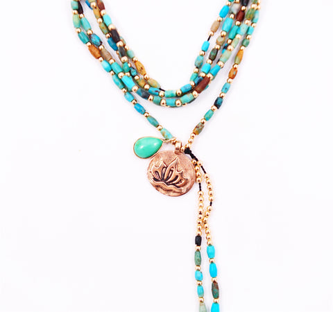 TURQUOISE & LOTUS NECKLACE