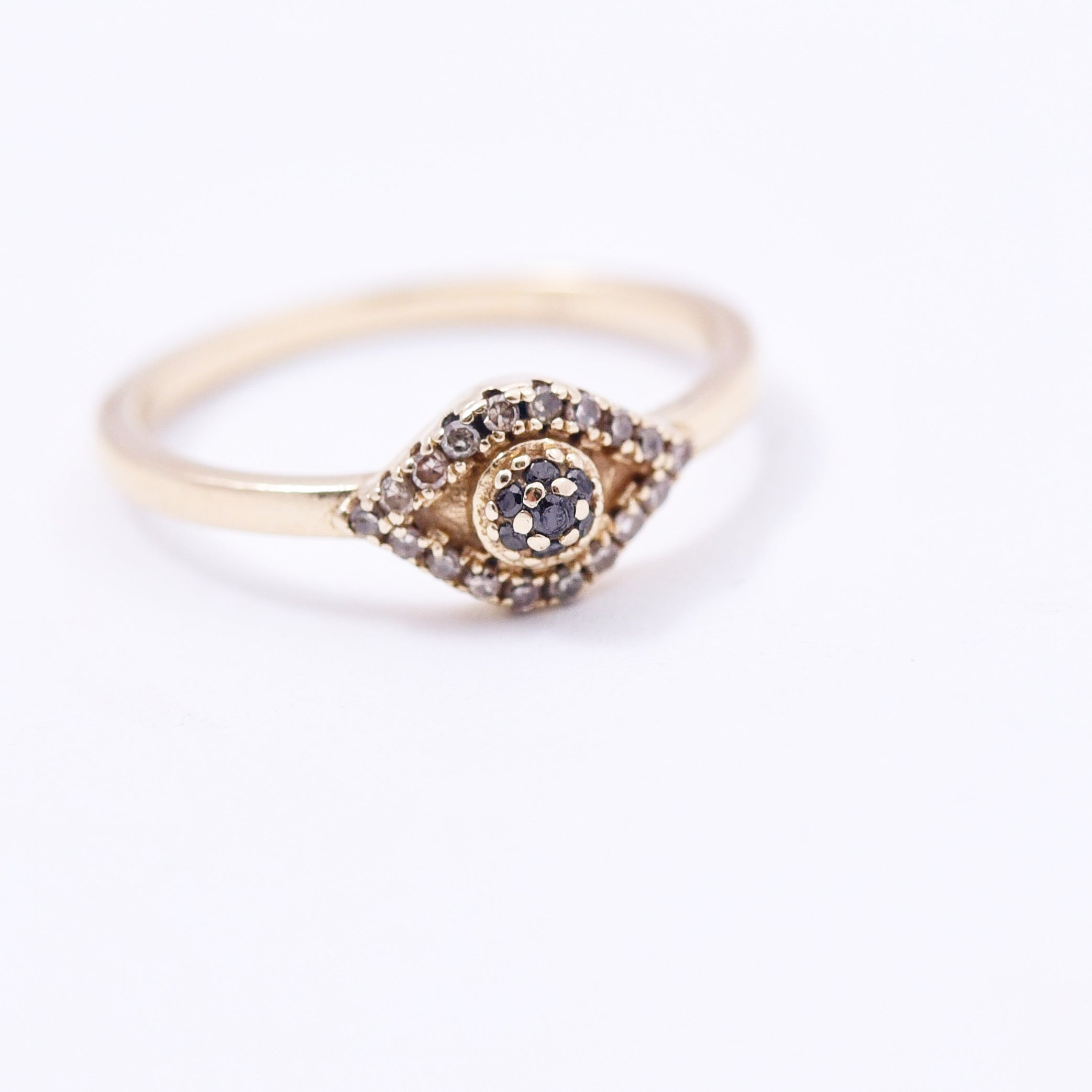 14K GOLD & DIAMOND EVIL EYE RING