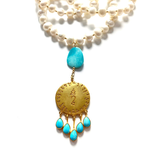 LONG TURQUOISE & PEARL AMULET