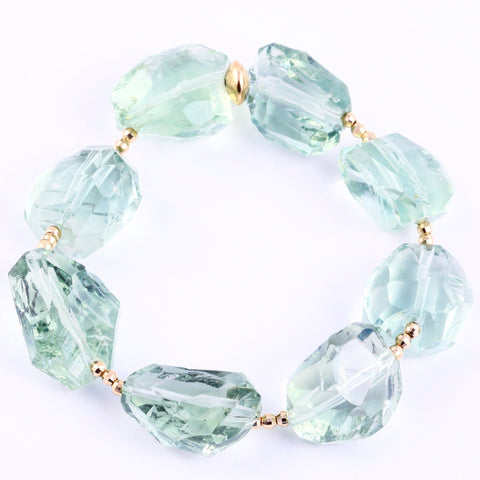 GREEN AMETHYST CREATIVITY AND ABUNDANCE GEMSTONE AMULET BRACELET