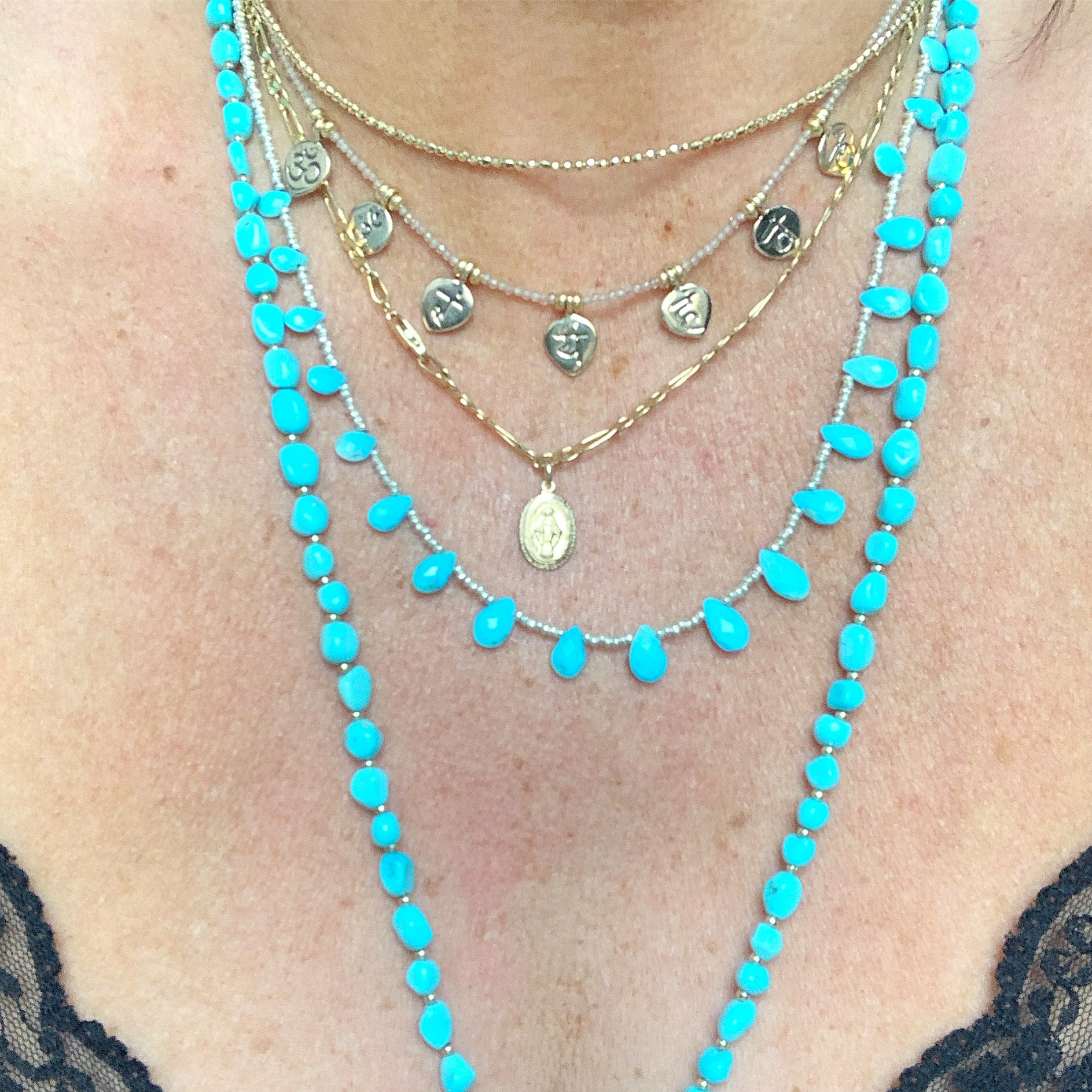 TURQUOISE LOTUS DROP NECKLACE