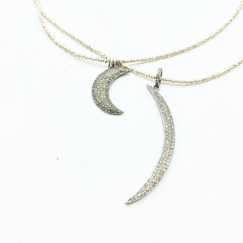 SILVER DIAMOND CRESCENT MOONS