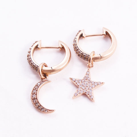 STAR AND MOON DIAMOND HOOPS