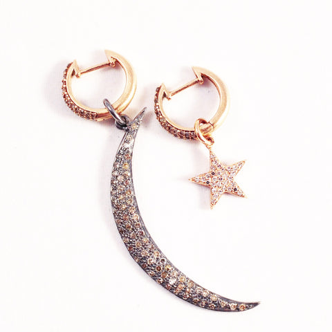 ROSE GOLD & DIAMOND CELESTIAL EARRINGS