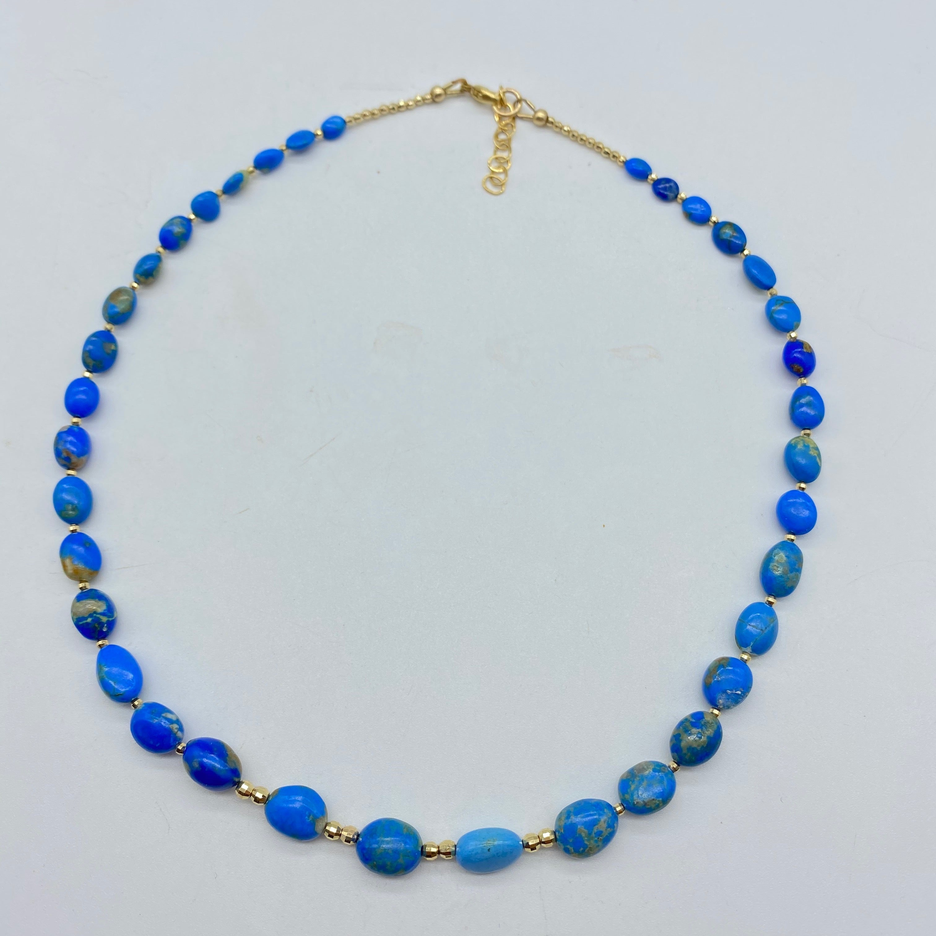 BLUE CERULELITE LIBERATION NECKLACE WITH GOLD