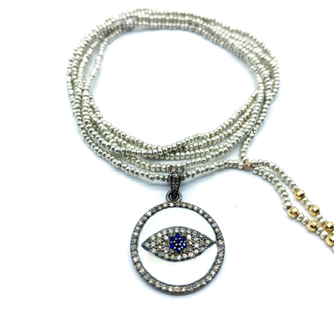 DIAMOND EVIL EYE PROTECTION AMULET ON HILLTRIBE