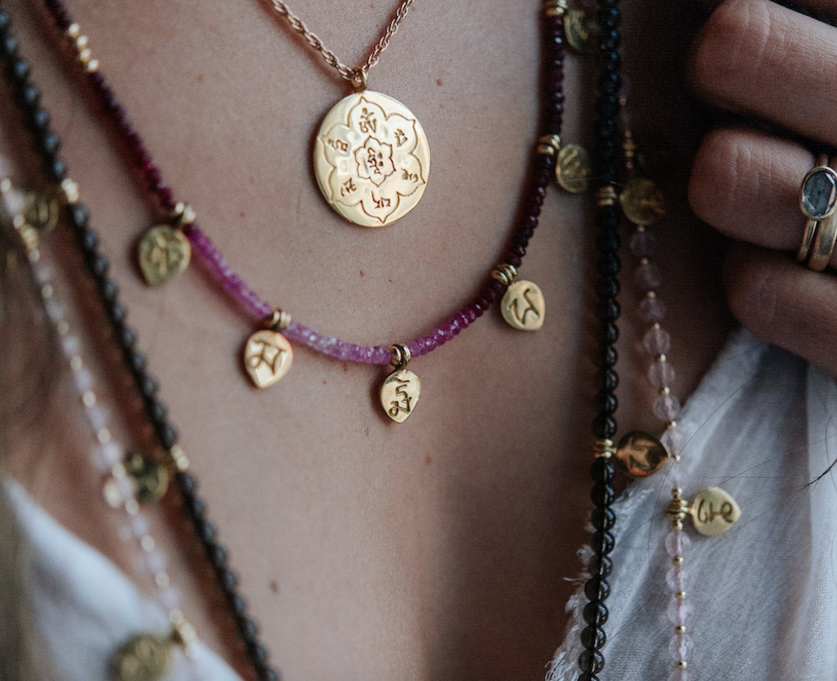 OM MANI PADME HUM MANTRA NECKLACE ON RUBIES