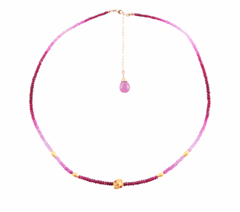RUBY NECKLACE WITH GOLD RAJISTANI BEAD