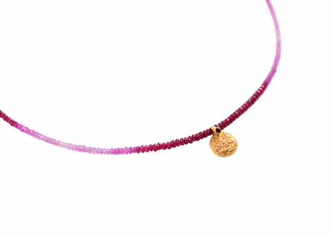 RUBY NECKLACE WITH GOLD GANESH/LAKSHMI