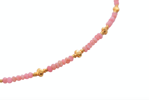 PINK OPAL FLOWER GIRL NECKLACE