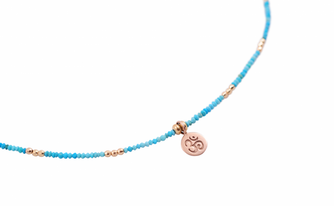 TURQUOISE OM COIN NECKLACE