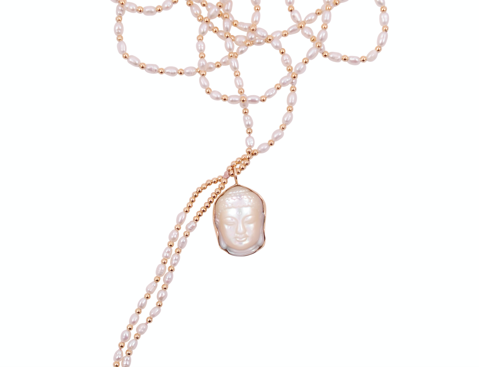 PEARL NECKLACE WITH 10K PEARL BUDDHA