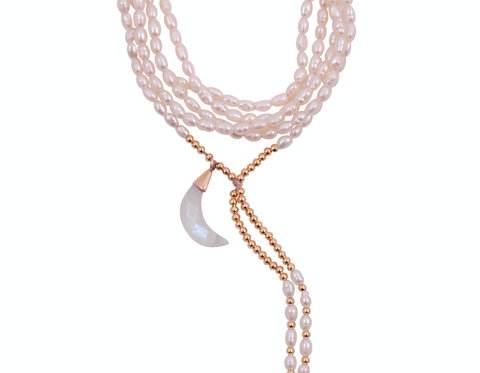 PEARL AMULET WITH CRESCENT MOON 10K GOLD