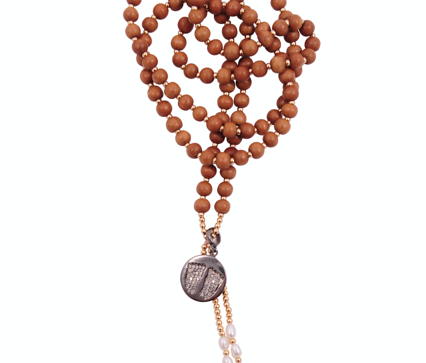 SANDALWOOD MALA WITH DIAMOND BUDDHA FEET