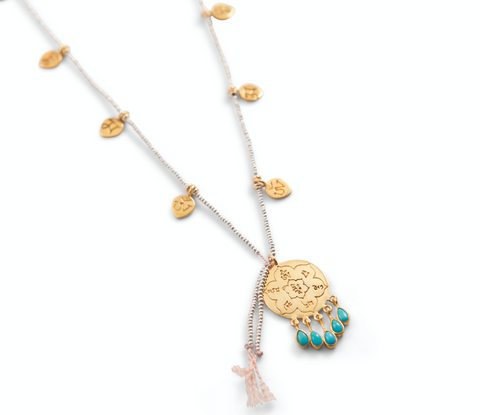 OM MANI PADME HUM HILLTRIBE MANTRA LOTUS PETAL NECKLACE