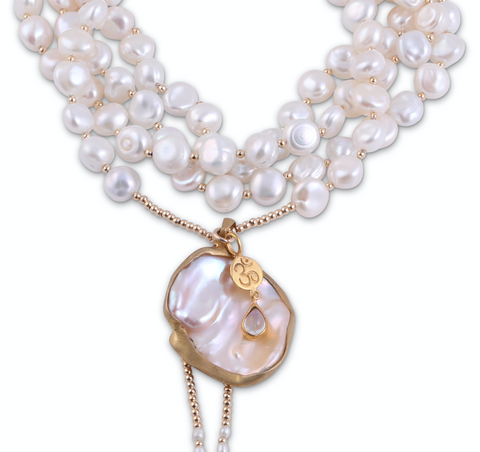 LONG PEARL AMULET NECKLACES
