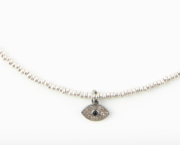 SILVER DIAMOND EVIL EYE NECKLACE GIFT WITH PURCHASE
