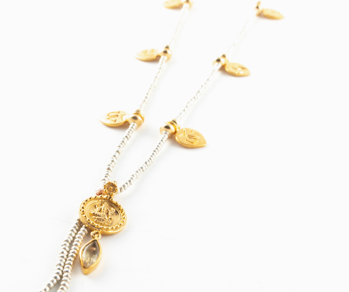 OM MANI PADME HUM NECKLACE WITH LAKSHMI