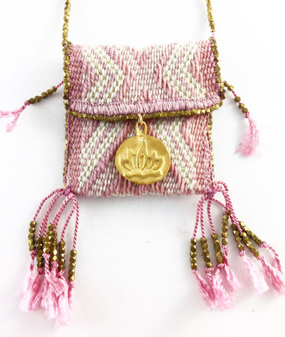 HAND WOVEN MEDICINE BAGS. PINK & WHITE