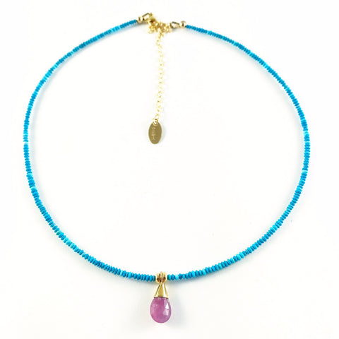 5th Chakra, Throat, Turquoise with Ruby Teardrop Pendant