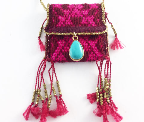 HAND WOVEN MEDICINE BAGS. BURGUNDY & PINK