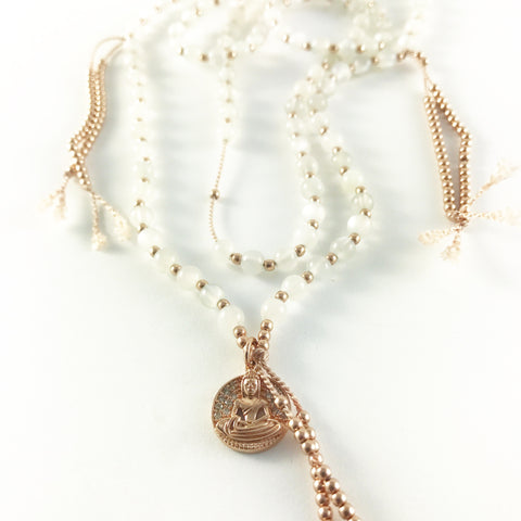 MOONSTONE MALA WITH 14K  ROSE GOLD BUDDHA