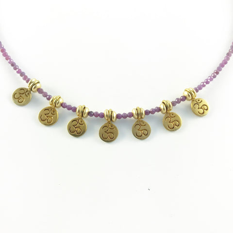 RUBY OM MANTRA NECKLACE
