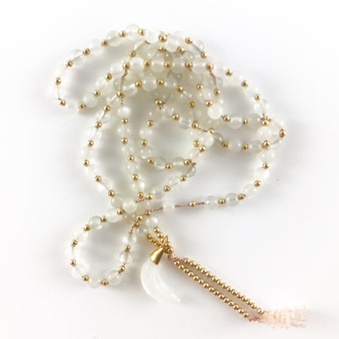 MOONSTONE MALA WITH MOONSTONE CRESCENT MOON