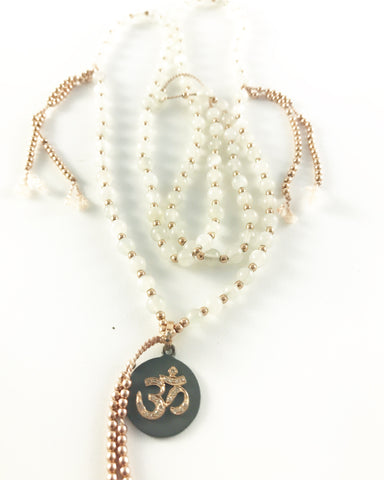 MOONSTONE MALA WITH 14K ROSE GOLD DIAMOND OM