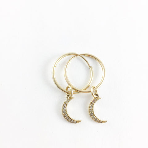 CRESCENT MOON EARRINGS 14K Yellow Gold
